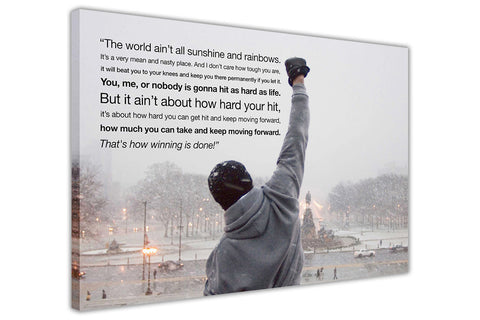 Coloured Inspirational Rocky Balboa Quote on Framed Canvas Wall Art Prints Movie Pictures TV photos Home Decoration Room Deco Posters-3D
