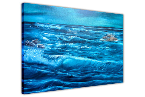 Stormy Ocean Waves on Framed Canvas Wall Art Prints Floral Pictures Home Decoration Room Deco Poster Photo Artwork-3D
