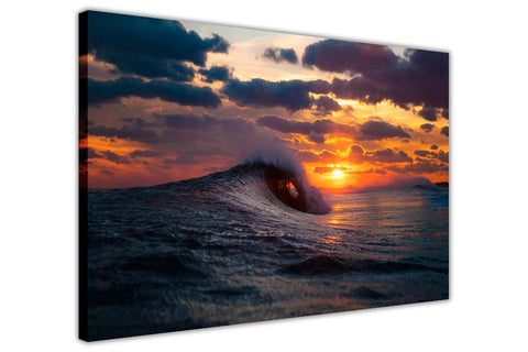 Sea Wave Sunset on Framed Canvas Wall Art Prints Room Deco Poster Photo Landscape Pictures Home Decoration Artwork-3D