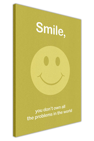 Smile Quote on Framed Canvas Wall Art Prints Floral Pictures Home Decoration Room Deco Poster Photo Artwork-3D
