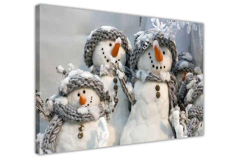 Snowmen Family on Framed Canvas Wall Art Prints Floral Pictures Home Decoration Room Deco Poster Photo Artwork-3D