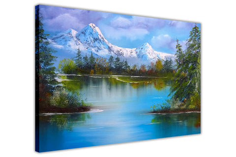 Mountains and Lake in Snow on Framed Canvas Wall Art Prints Floral Pictures Home Decoration Room Deco Poster Photo Artwork-3D