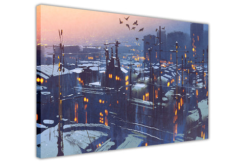 Snowy Rooftop Houses on Framed Canvas Wall Art Prints Floral Pictures Home Decoration Room Deco Poster Photo Artwork-3D