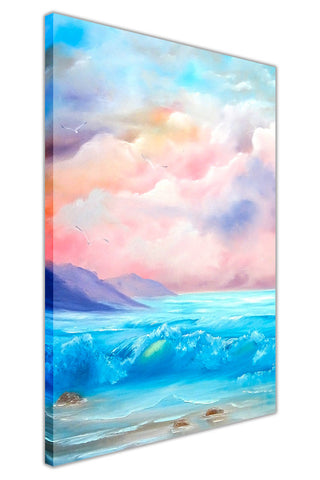 Wavy Sea on Spring Beach on Framed Canvas Wall Art Prints Floral Pictures Home Decoration Room Deco Poster Photo Artwork-3D