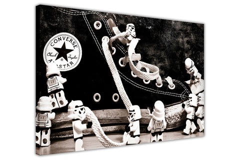 Lego Stormtroopers Around Conversse Trainers on Framed Canvas Wall Art Prints Floral Pictures Home Decoration Room Deco Poster Photo Artwork-3D