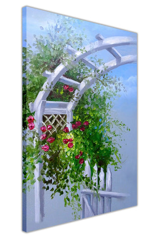 Beautiful Summer Arbor gate on Framed Canvas Wall Art Prints Floral Pictures Home Decoration Room Deco Poster Photo Artwork-3D