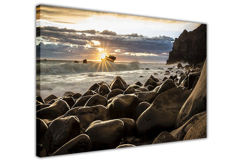 Sunrise Rocky Coast Framed Canvas Wall Art Prints Landscape Pictures Home Decoration Room Deco Poster Photo Artwork-3D