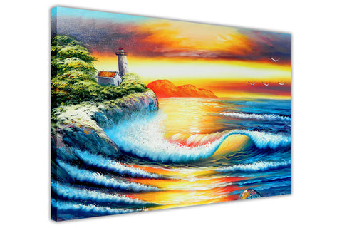 Light House and Sunset Oil Painting Re-printed on Framed Canvas Wall Art Prints Home Decoration Pictures Room Deco Photo-3D