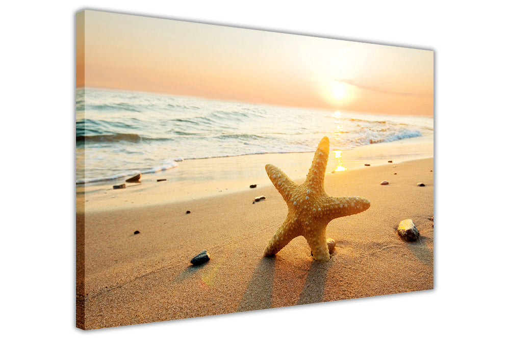 Sunset Over Starfish and Beach on Framed Canvas Wall Art Prints Room ...