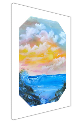 Sunset Over Ocean Waves on Framed Canvas Wall Art Prints Floral Pictures Home Decoration Room Deco Poster Photo Artwork-3D