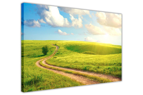 Sunshine Field on Framed Canvas Wall Art Prints Room Deco Poster Photo Landscape Pictures Home Decoration Artwork-3D