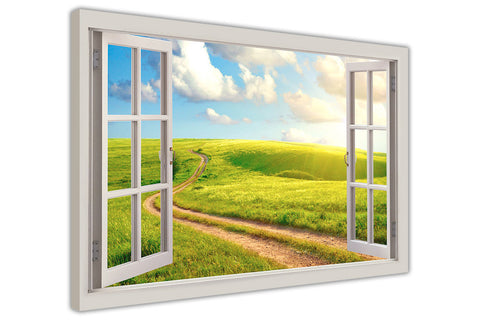 Sunshine Field 3D Window Bay Effect on framed canvas prints wall art pictures posters home decoration artowork-3D