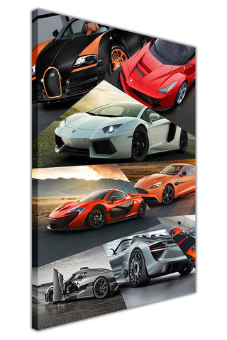 Super Car Collage on Framed Canvas Wall Art Prints Floral Pictures Home Decoration Room Deco Poster Photo Artwork-3D