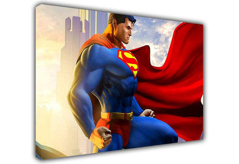 Superman With Red Cape on Framed Canvas Wall Art Prints Room Deco Poster Photo Comic Pictures Home Decoration Artwork-3D