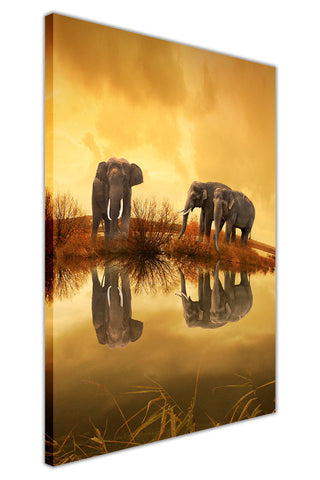 Thai Elephant Sunset on Framed Canvas Wall Art Prints Room Deco Poster Photo Landscape Pictures Home Decoration Artwork-3D