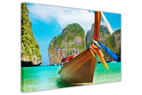 Summer Boat Thailand on Framed Canvas Wall Art Prints Room Deco Poster Photo Landscape Pictures Home Decoration Artwork-3D