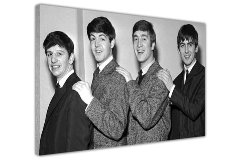 Black and White Photo Of The Beatles in 1962 on Framed Canvas Wall Art Prints Pictures Celebrity Images Famous People-3D