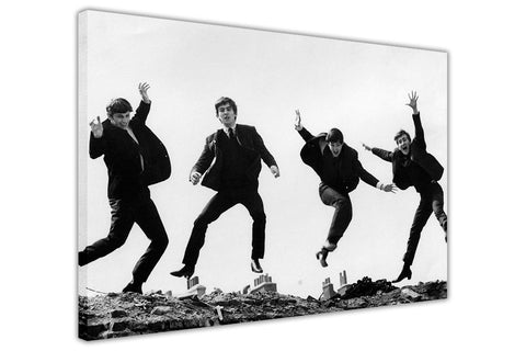 Black And White The Beatles Jumping Canvas Prints Wall Art Pictures Room Decoration