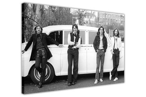 Black and White Photo Of The Beatles and a White Car on Framed Canvas Wall Art Prints Pictures Celebrity Images Famous People-3D