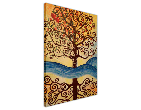 Tree Of Life with Heart Apples on Framed Canvas Wall Art Prints Home Decoration Pictures Room Deco Photo-3D