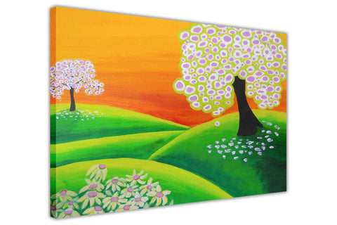 Trees Flowers and Hill Oil Painting Re-printed on Framed Canvas Wall Art Prints Home Decoration Pictures Room Deco Photo-3D