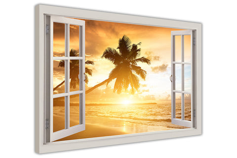 Tropical Beach 3D Window Bay Effect on framed canvas prints wall art pictures posters home decoration artowork-3D