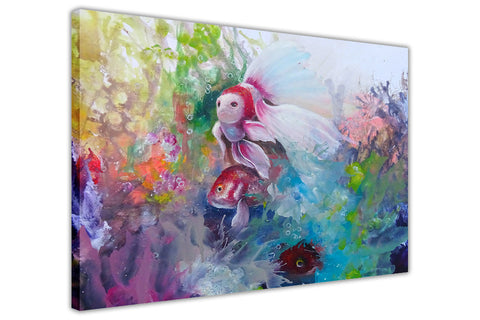 Colourful Tropical Fish on Framed Canvas Wall Art Prints Floral Pictures Home Decoration Room Deco Poster Photo Artwork-3D