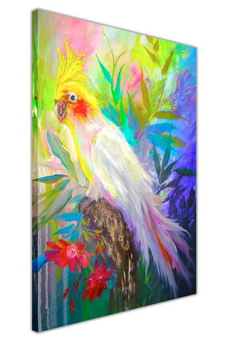 Tropical Parrot on Framed Canvas Wall Art Prints Floral Pictures Home Decoration Room Deco Poster Photo Artwork-3D