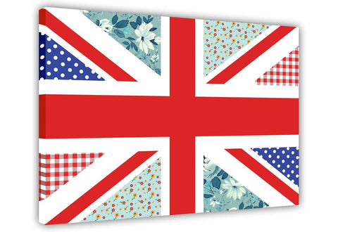 Floral Union Jack on Framed Canvas Wall Art Prints Floral Pictures Home Decoration Room Deco Poster Photo Artwork-3D