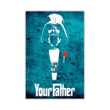 Blue Star Wars Darth Vader Your Father Quote on Framed Canvas Wall Art Prints Movie Pictures TV photos Home Decoration Room Deco Posters-Front