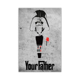 Grey Star Wars Darth Vader Your Father Quote on Framed Canvas Wall Art Prints Movie Pictures TV photos Home Decoration Room Deco Posters-Front