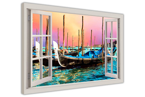 Venice City Gondola Boats 3D Window Bay Effect Framed Canvas Wall Art Prints Room Deco Poster Photo Landscape Pictures Home Decoration Artwork-3D
