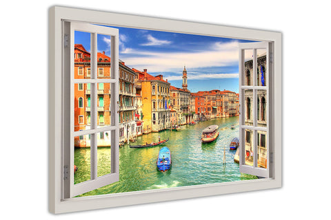 Grand Canal in Venice, Italy 3D Window Bay Effect on Framed Canvas Wall Art Prints Room Deco Poster Photo Landscape Pictures Home Decoration Artwork-3D