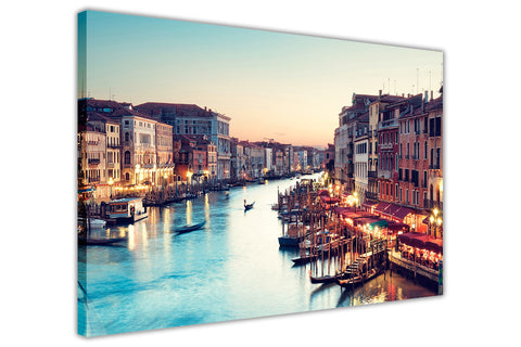 Venice Sunset Over River Wall Art Canvas Pictures Framed Prints City Images Modern Art-3D