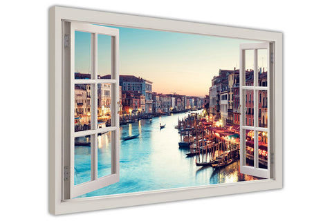 Sunset over Venice, Italy 3D Window Bay Effect on Framed Canvas Wall Art Prints Room Deco Poster Photo Landscape Pictures Home Decoration Artwork-3D