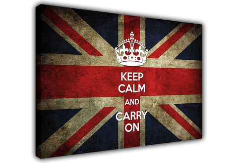 Rustic Great Britain Flag Keep Calm Quote on Framed Canvas Wall Art Prints Floral Pictures Home Decoration Room Deco Poster Photo Artwork-3D