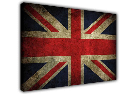Rustic Great Britain Flag on Framed Canvas Wall Art Prints Floral Pictures Home Decoration Room Deco Poster Photo Artwork-3D
