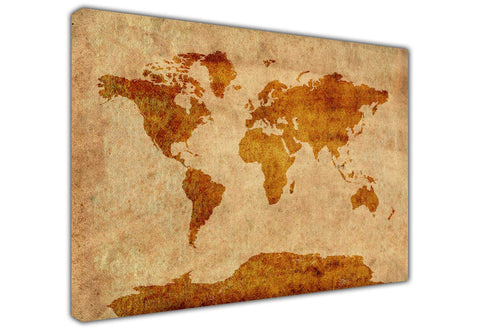 Brown World Map Atlas on Framed Canvas Wall Art Prints Floral Pictures Home Decoration Room Deco Poster Photo Artwork-3D
