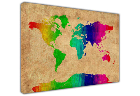 Rainbow Colour Brown Atlas World Map on Framed Canvas Wall Art Prints Floral Pictures Home Decoration Room Deco Poster Photo Artwork-3D