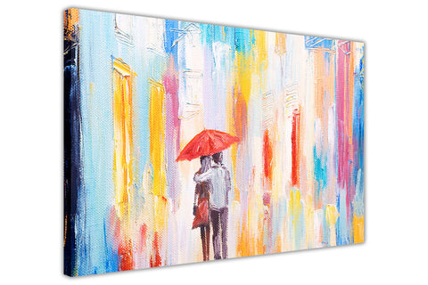 Walking in the Rain Painting Re-printed on Framed Canvas Wall Art Prints Home Decoration Pictures Room Deco Photo-3D