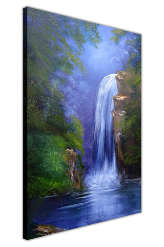 Waterfall in The Jungle on Framed Canvas Wall Art Prints Floral Pictures Home Decoration Room Deco Poster Photo Artwork-3D