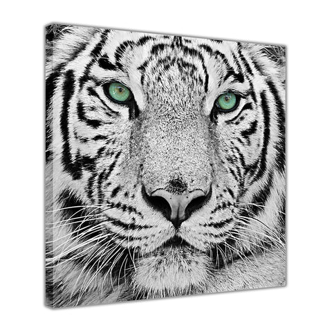 White Tiger Green Eyes on Framed Canvas Wall Art Prints Room Deco Poster Photo Landscape Pictures Home Decoration Artwork-3D
