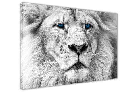 White Lion Blue Eyes on Framed Canvas Wall Art Prints Room Deco Poster Photo Landscape Pictures Home Decoration Artwork-3D