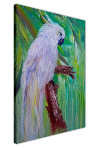 White Parrot on Framed Canvas Wall Art Prints Floral Pictures Home Decoration Room Deco Poster Photo Artwork-3D