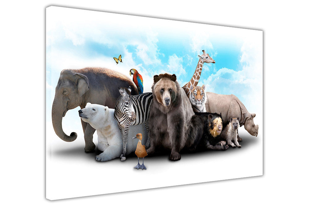 Wild Animals Collage Canvas Wall Art Pictures Home Decoration Framed Prints It Up 3D