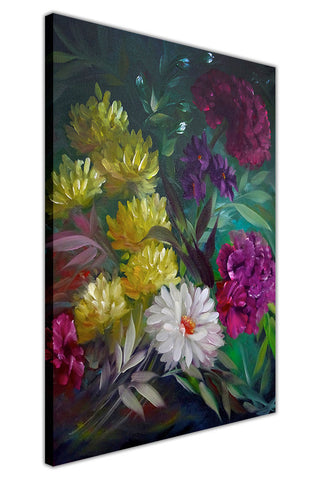 Wild Flower Bouquet on Framed Canvas Wall Art Prints Floral Pictures Home Decoration Room Deco Poster Photo Artwork-3D