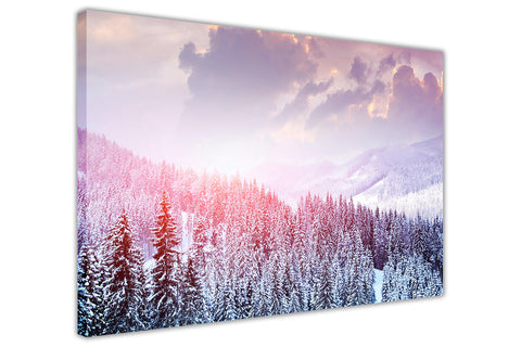 Winter Forest on Framed Canvas Wall Art Prints Room Deco Poster Photo Landscape Pictures Home Decoration Artwork-3D