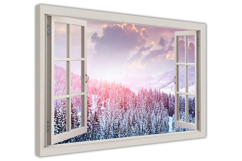 Winter Forest 3D Window View on Framed Canvas Wall Art Prints Room Deco Poster Photo Landscape Pictures Home Decoration Artwork-3D
