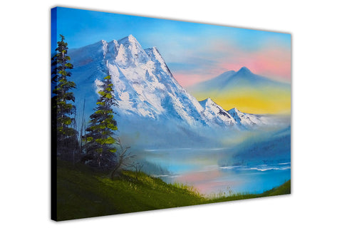 Moutain Valley in Winter on Framed Canvas Wall Art Prints Floral Pictures Home Decoration Room Deco Poster Photo Artwork-3D