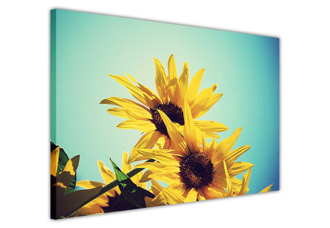 Yellow Sun Flower on Framed Canvas Wall Art Prints Floral Pictures Home Decoration Room Deco Poster Photo Artwork-3D